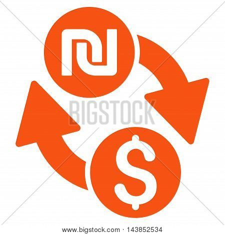 Dollar Shekel Exchange icon. Vector style is flat iconic symbol with rounded angles, orange color, white background.