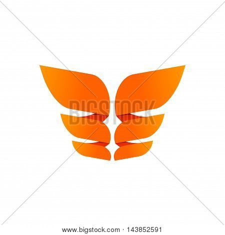 Orange butterfly logo template isolated on white, creative trendy brand element design