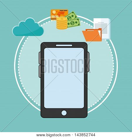 smartphone cloud file money cyber security system technology icon. Colorful and flat design. Vector illustration