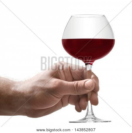 Hand with glass of red wine, isolated on white
