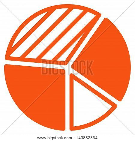 Pie Chart icon. Vector style is flat iconic symbol with rounded angles, orange color, white background.