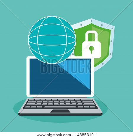 laptop padlock cyber security system technology icon. Colorful and flat design. Vector illustration