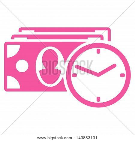 Cash Credit icon. Vector style is flat iconic symbol with rounded angles, pink color, white background.