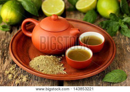 Matcha Tea set on a wooden background