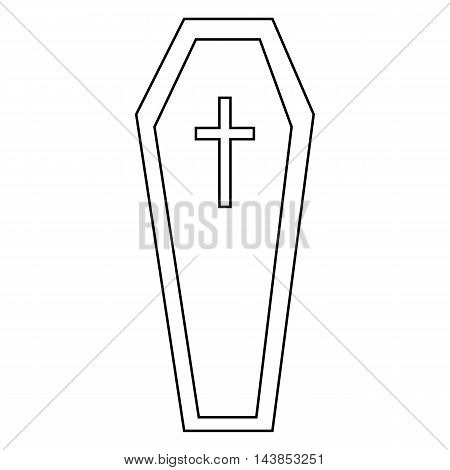 Coffin icon in outline style isolated on white background