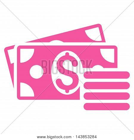 Dollar Cash icon. Vector style is flat iconic symbol with rounded angles, pink color, white background.