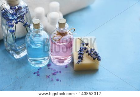 Beautiful spa composition with oil and lavender