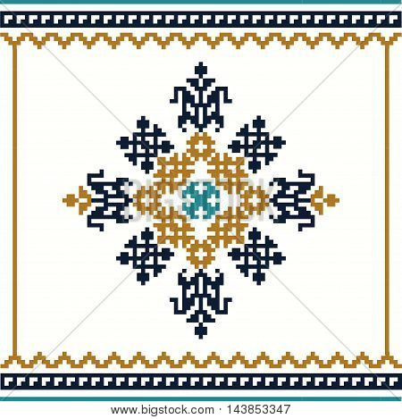 Traditional design element. Abstract geometrical illustration. Cross-stitch.