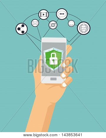 padlock smartphone cyber security system technology icon set. Colorful and flat design. Vector illustration