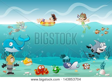 Kids wearing Scuba diving suit and swimming with fish under the sea. Cartoon divers in underwater world with corals.