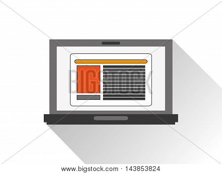 laptop cyber security system technology icon. Colorful and flat design. Vector illustration