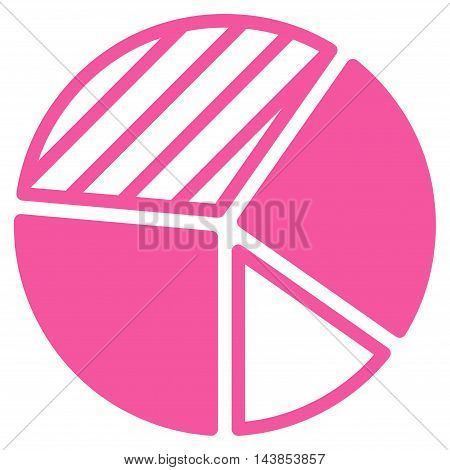 Pie Chart icon. Vector style is flat iconic symbol with rounded angles, pink color, white background.