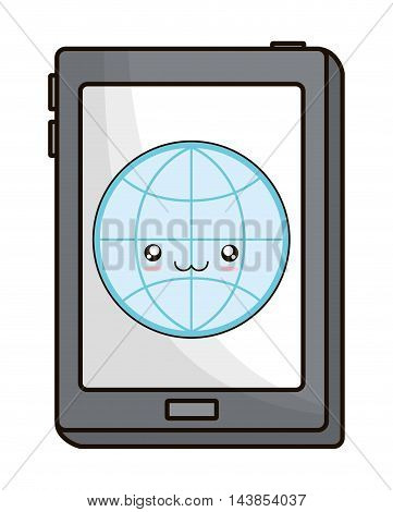 tablet global kawaii cartoon smiling technology icon. Colorful and flat design. Vector illustration