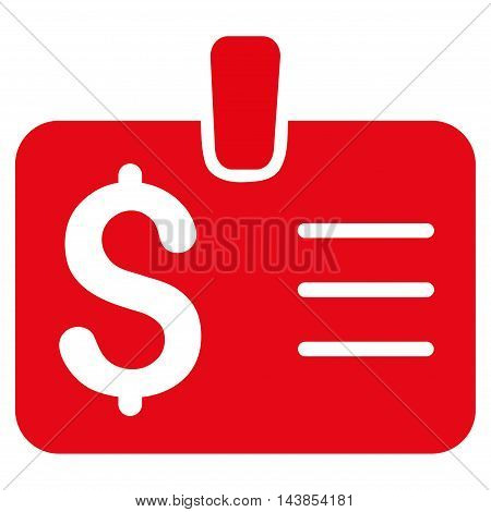 Dollar Badge icon. Vector style is flat iconic symbol with rounded angles, red color, white background.