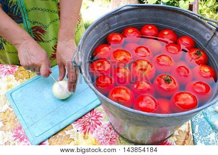 woman slices horseradish for preservation of ripe washed tomatoes in the water