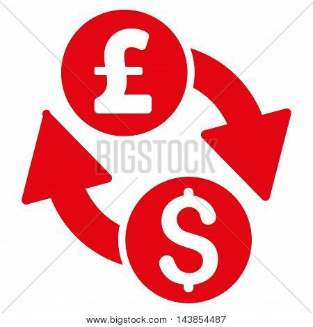 Dollar Pound Exchange icon. Vector style is flat iconic symbol with rounded angles, red color, white background.