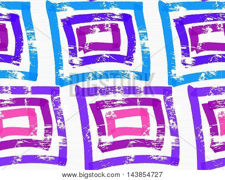 Rough Brush Blue And Purple Squares