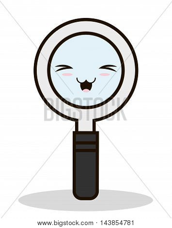 lupe search kawaii cartoon smiling icon. Colorful and flat design. Vector illustration