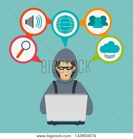 hacker laptop cloud lupe global cyber security system technology icon. Colorful and flat design. Vector illustration