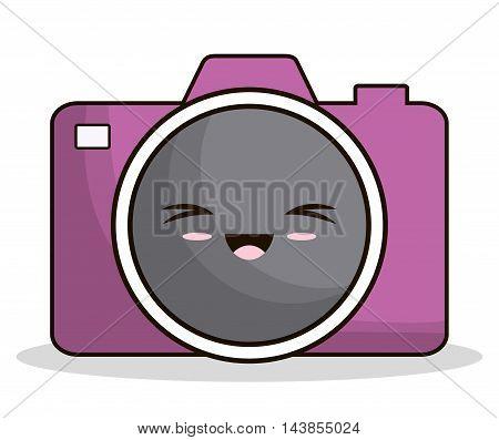 camera kawaii cartoon smiling technology icon. Colorful and flat design. Vector illustration