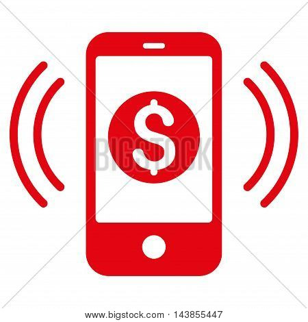 Payment Phone Ring icon. Vector style is flat iconic symbol with rounded angles, red color, white background.