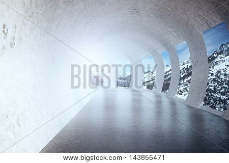 Concrete tunnel with sunlight and snowy mountains view. 3D Rendering