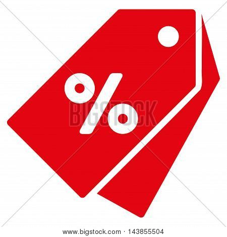 Percent Discount Tags icon. Vector style is flat iconic symbol with rounded angles, red color, white background.