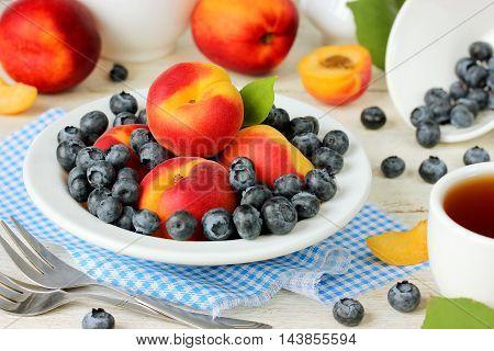 Breakfast diet fresh fruits and berries selective focus