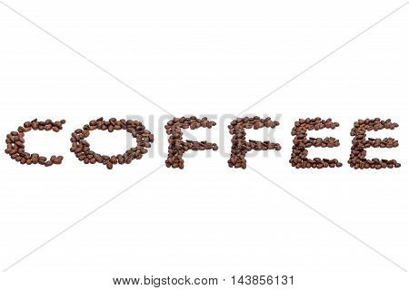 Word Coffee Spelled With Coffee Beans On White