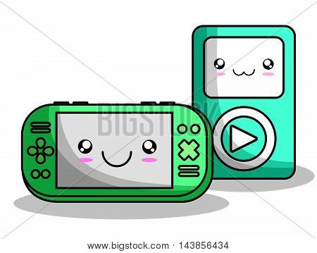 mp3 videogame control kawaii cartoon smiling technology icon. Colorful and flat design. Vector illustration