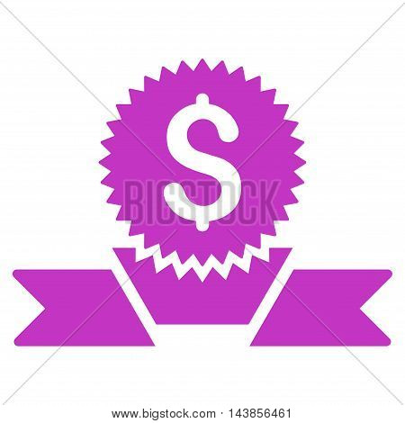 Banking Award icon. Vector style is flat iconic symbol with rounded angles, violet color, white background.
