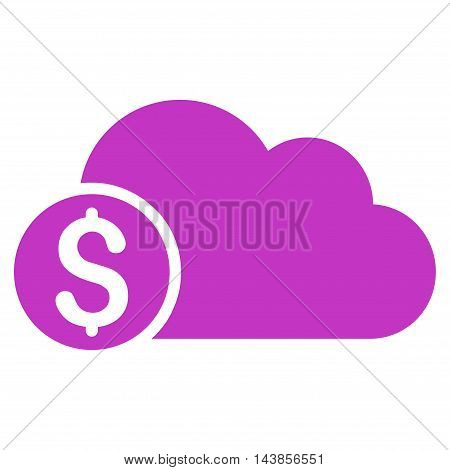 Banking Cloud icon. Vector style is flat iconic symbol with rounded angles, violet color, white background.