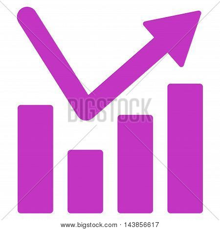 Bar Chart Trend icon. Vector style is flat iconic symbol with rounded angles, violet color, white background.