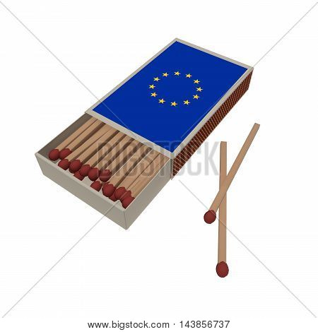 EU Flag Matches Isolated On A White Background 3d illustration