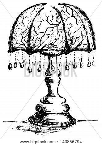 Monochrome vintage retro lamp sketched art vector