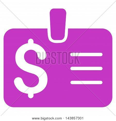 Dollar Badge icon. Vector style is flat iconic symbol with rounded angles, violet color, white background.