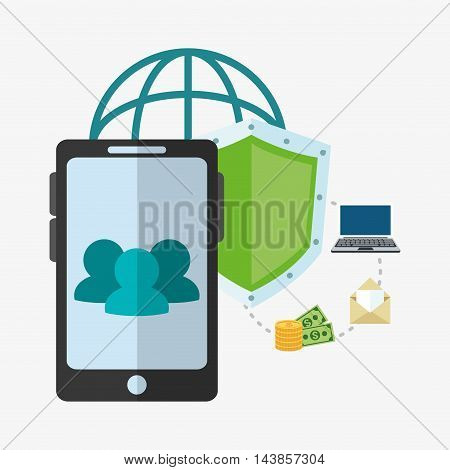 smartphone shield money laptop envelope cyber security system technology icon. Colorful and flat design. Vector illustration