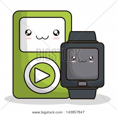 mp3 watch kawaii cartoon smiling technology icon. Colorful and flat design. Vector illustration