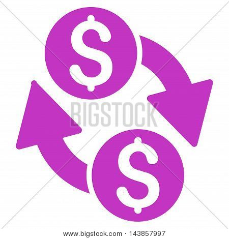 Dollar Exchange icon. Vector style is flat iconic symbol with rounded angles, violet color, white background.