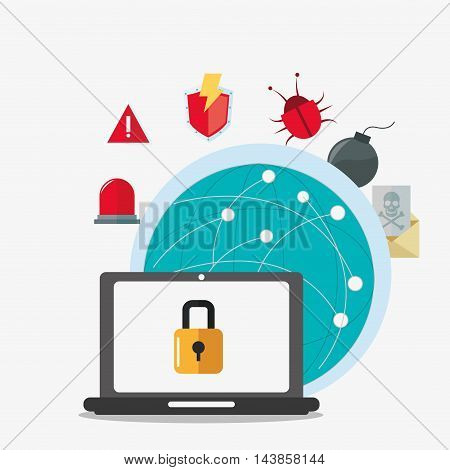 laptop padlock global bug alarm envelope cyber security system technology icon. Colorful and flat design. Vector illustration