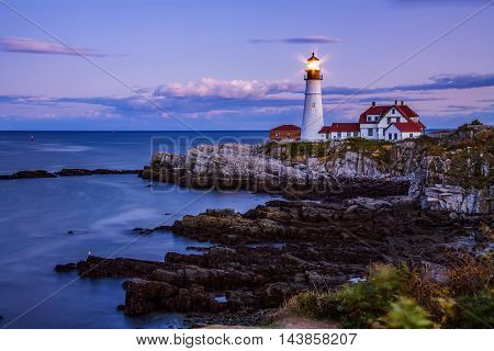 The Benevolent Sentinel The Portland Head Light After Sunset Portland Maine USA