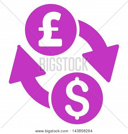 Dollar Pound Exchange icon. Vector style is flat iconic symbol with rounded angles, violet color, white background.