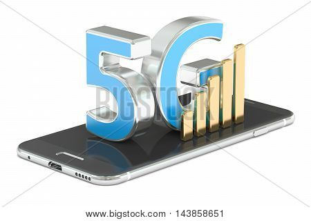 5G concept 3D rendering isolated on white background