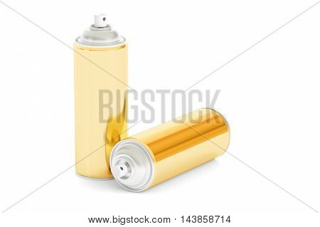 golden spray cans 3D rendering isolated on white background