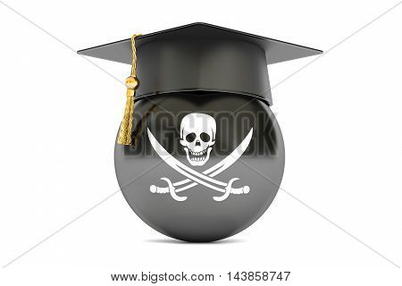 pirate flag with a graduation cap 3D rendering