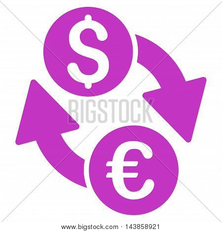 Euro Dollar Exchange icon. Vector style is flat iconic symbol with rounded angles, violet color, white background.