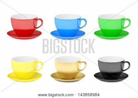 Set of colorful cups 3D rendering isolated on white background