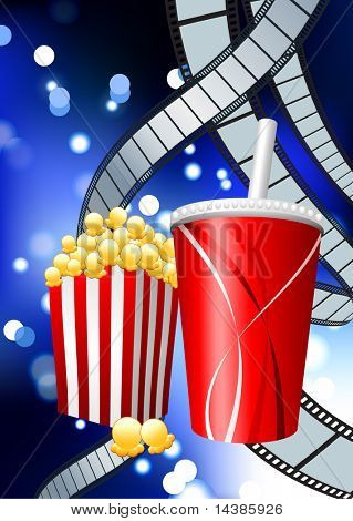 Popcorn and Soda on Film Strip Background Original Vector Illustration Film Reel Concept