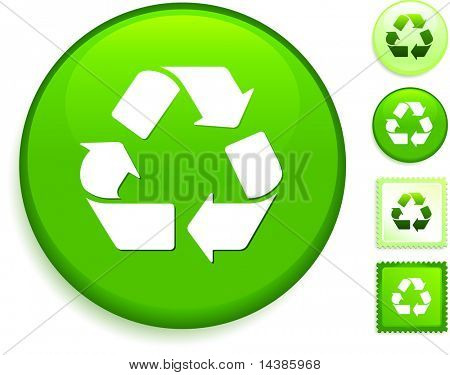 Recycle Symbol Icon on Internet Button Original Vector Illustration