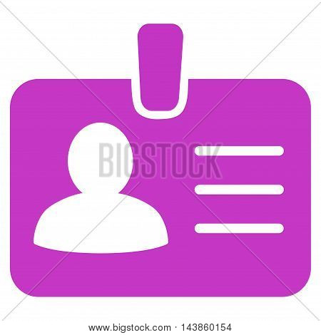 Person Badge icon. Vector style is flat iconic symbol with rounded angles, violet color, white background.
